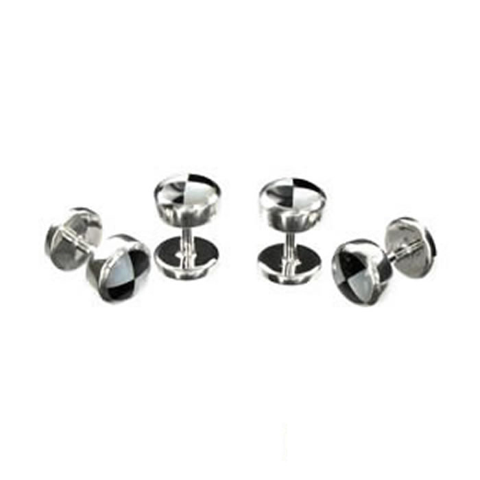 Sterling Silver Black And White Qtr Mop Dress Studs