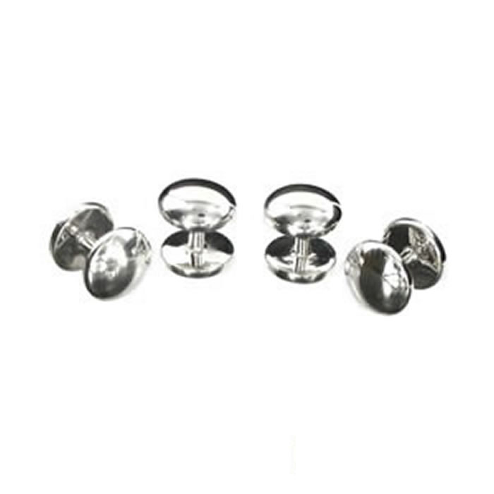 Sterling Silver Round Domed Dress Studs