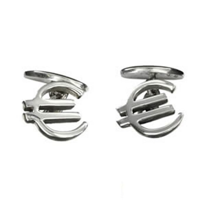 Sterling Silver Simple Euro Cufflinks