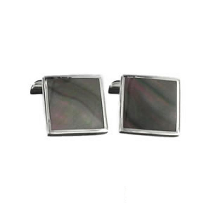 Sterling Silver Dark Shell Mosaic Cufflinks