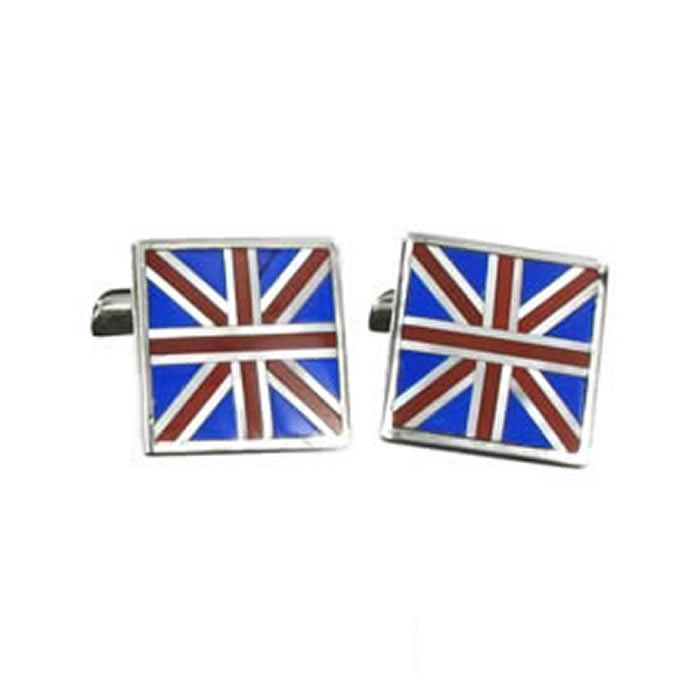 Sterling Silver Union Jack Square Cufflinks