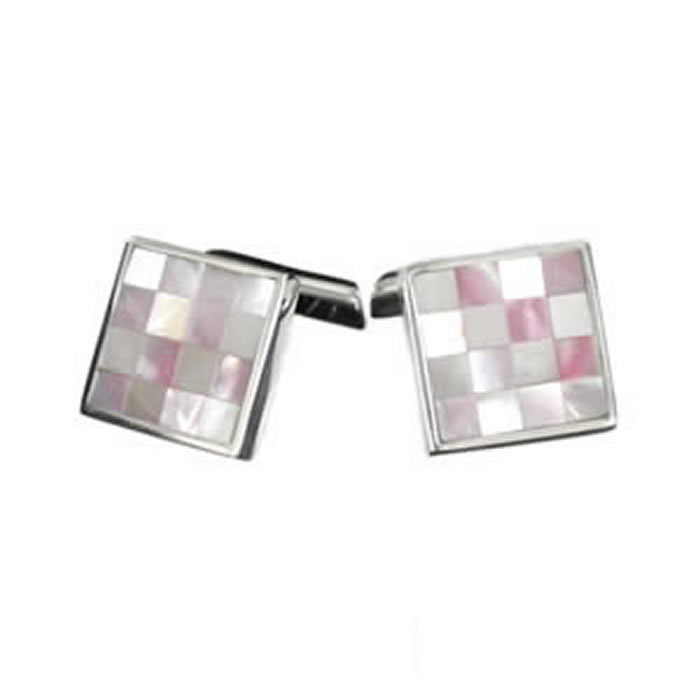 Sterling Silver Pink Chequered Mosaic Cufflinks