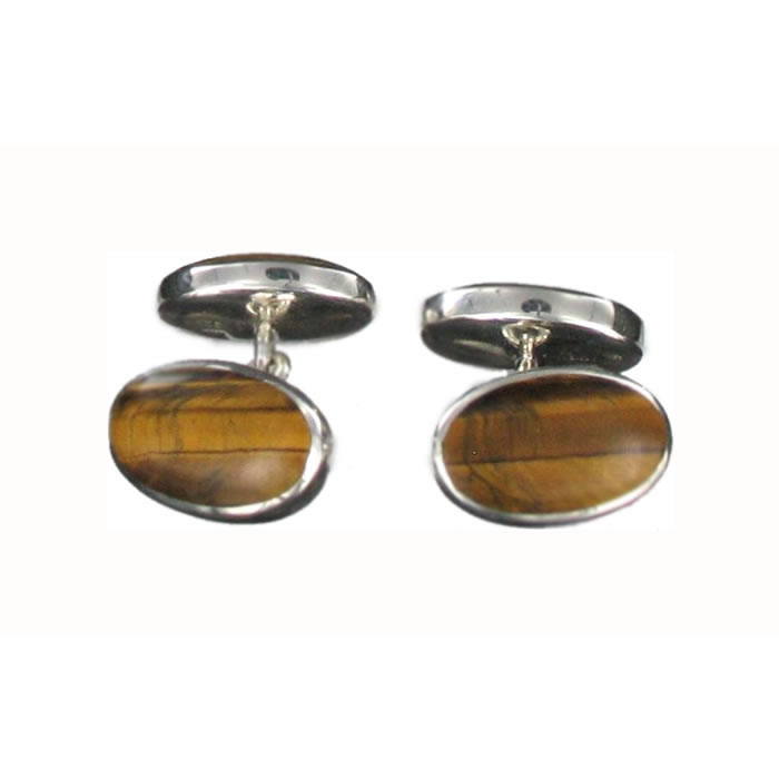 Sterling Silver Tigers Eye Onyx Cufflinks