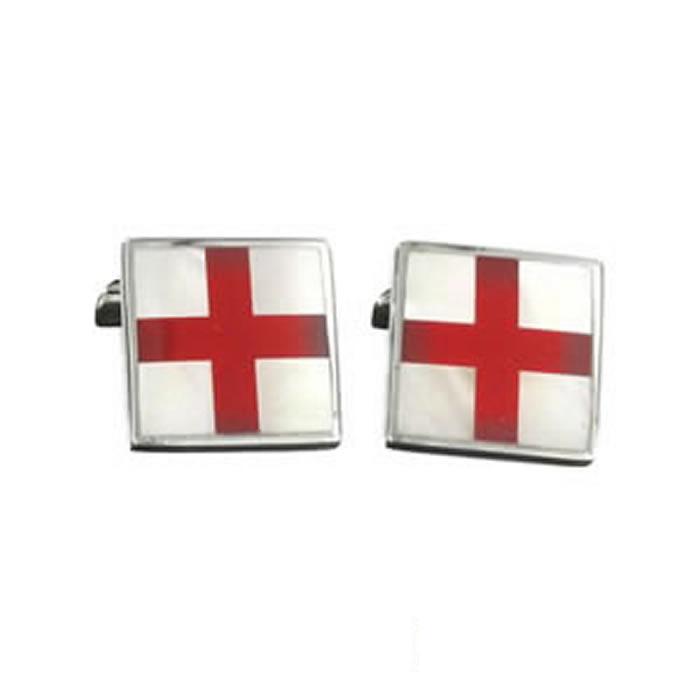 Sterling Silver St Georges Cross Cufflinks