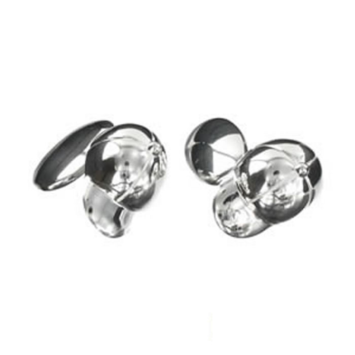 Sterling Silver Simple Jockey Cap Cufflinks