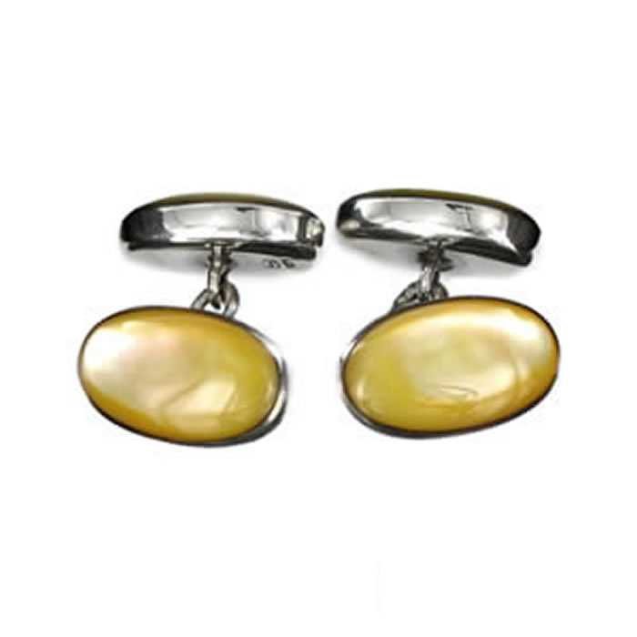 Sterling Silver Yellow Mop Cufflinks