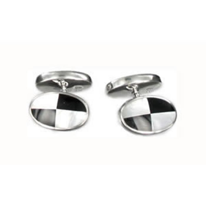 Sterling Silver Black And White Qtr Mop Cufflinks