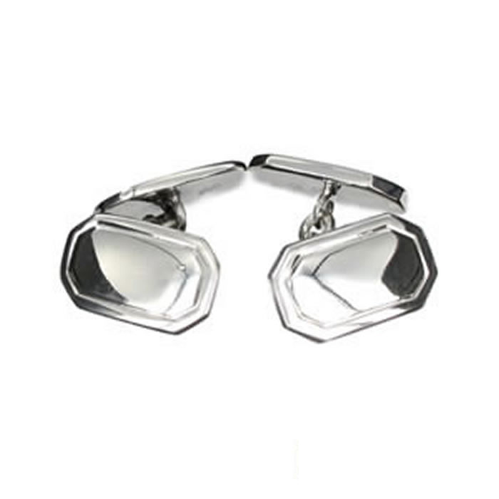 Sterling Silver Shaped Lined Cufflinks