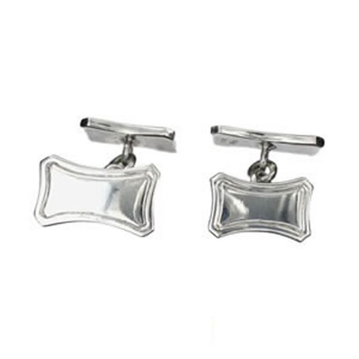 Sterling Silver Rectangular Lined Cufflinks