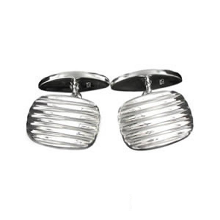 Sterling Silver Grooved Cufflinks