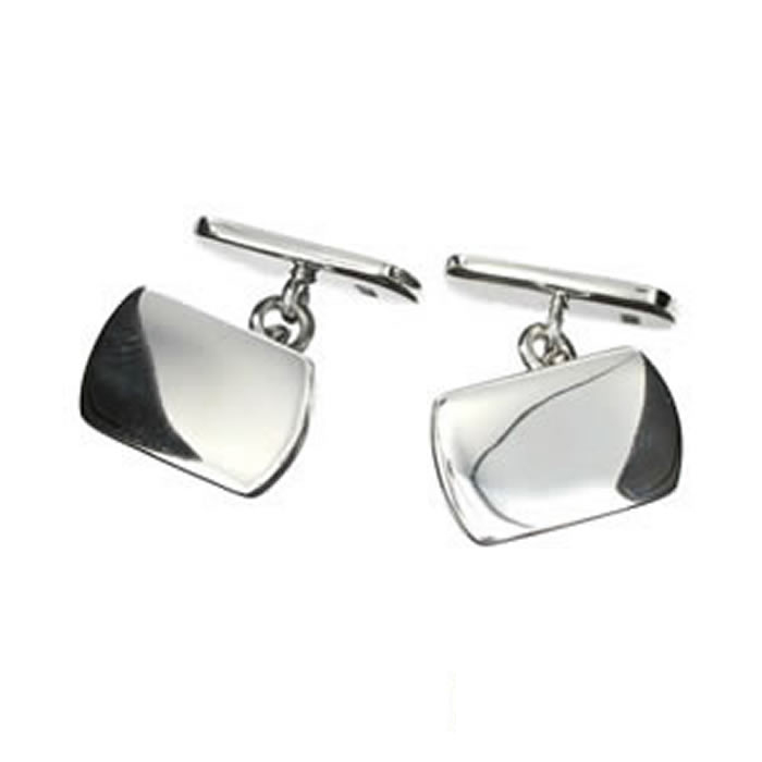 Sterling Silver Plain Rectangular Shaped Cufflinks