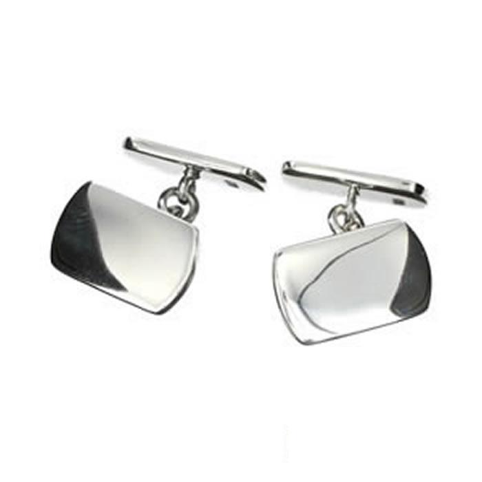 Sterling Silver Plain Rectangular Shaped Cufflinks