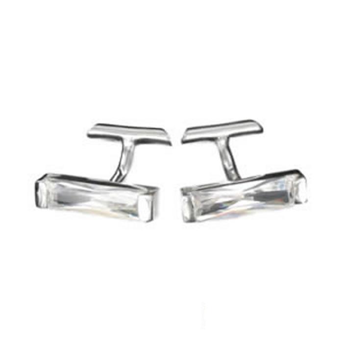 Sterling Silver White Cubic Zirconia Strip Cufflinks