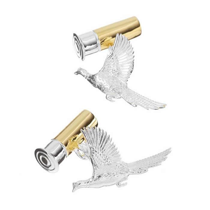 Sterling Silver Bird Bullet Cufflinks