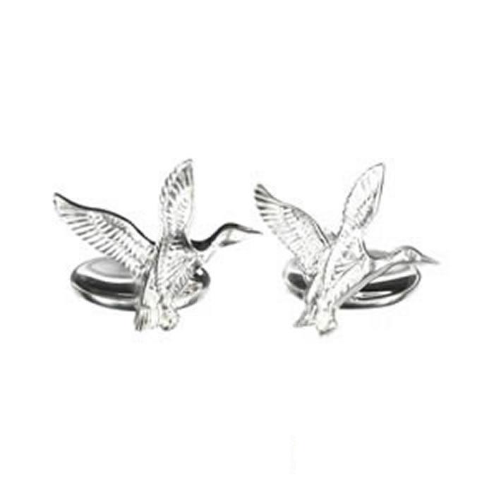 Sterling Silver Full Flight Bird Cufflinks