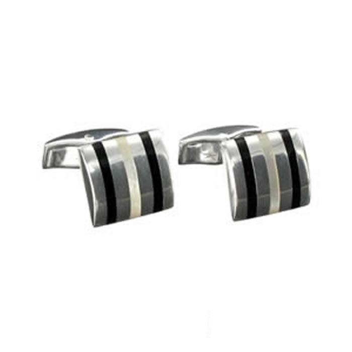 Sterling Silver Black Enamel Mop Cufflinks