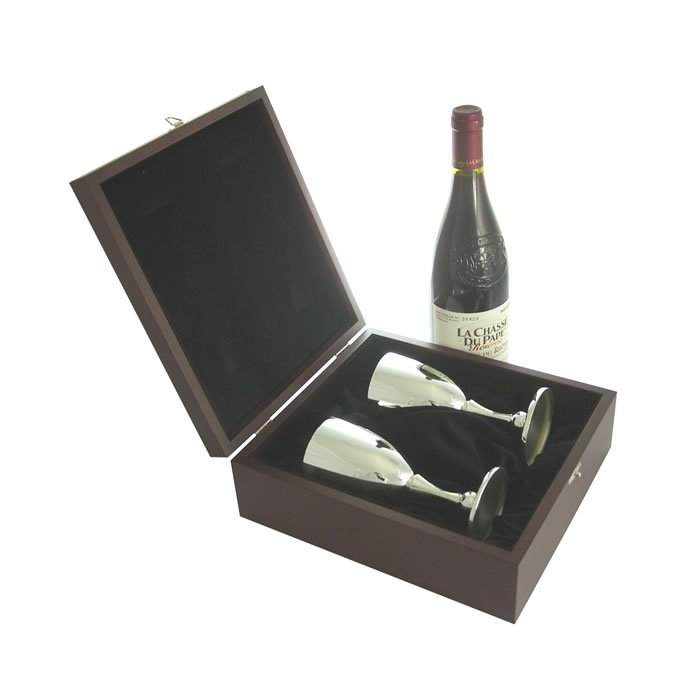 Silver Wine Goblet Pair With Presentation Box