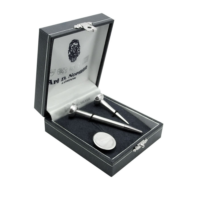 Sterling Silver Golf Ball Marker Long And Short Tee Set