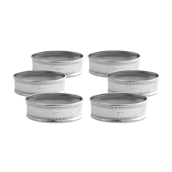 sterling silver simple napkin ring set
