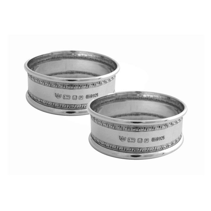 Sterling Silver Patterned Napkin Ring Set