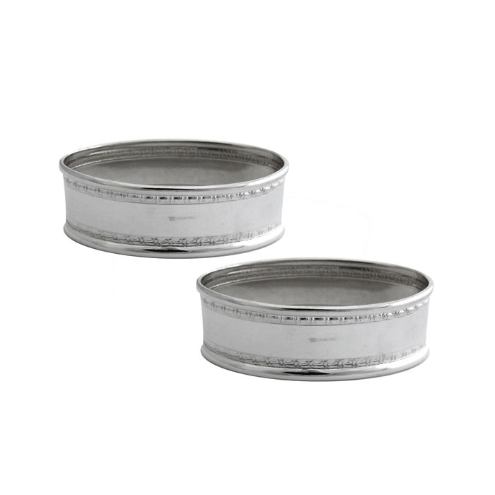 Sterling Silver Rectangular Bordered Napkin Ring Set