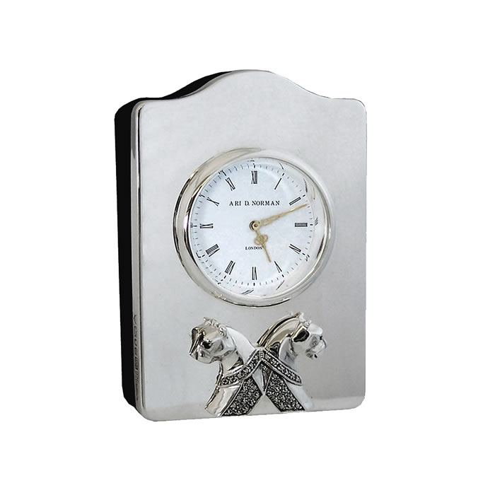 Sterling Silver Windsor Collection Panther Back To Back Clock