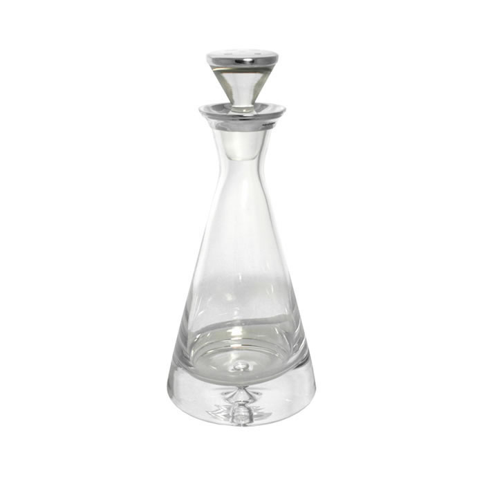 Sterling Silver And Crystal 80cl Straight Sided Decanter