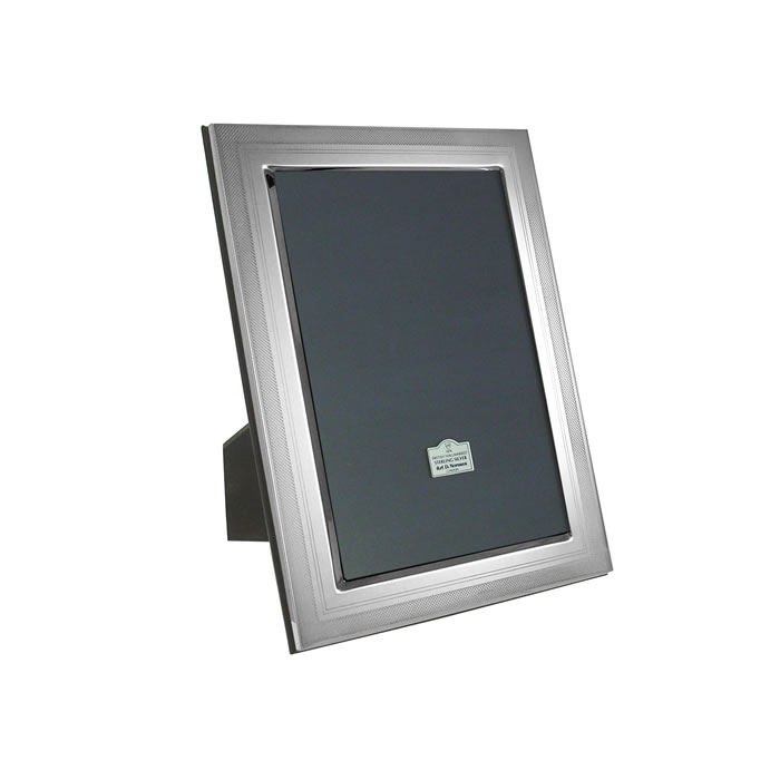 Sterling Silver 8X6 Inch Hatch Border Photo Frame