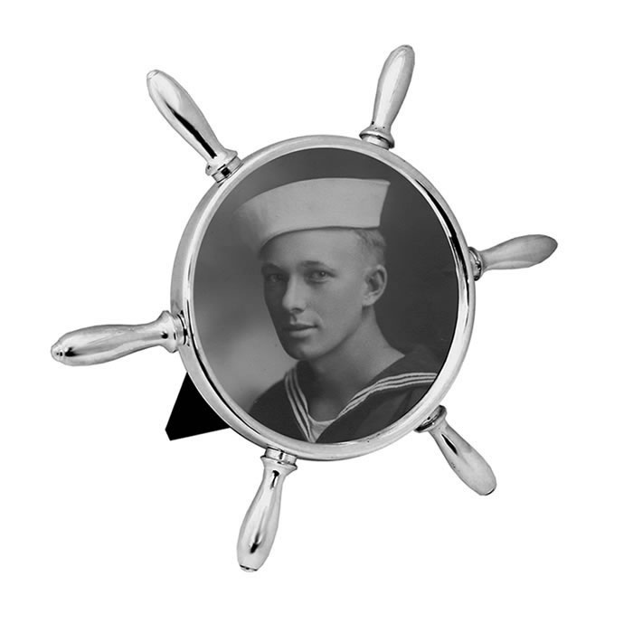 Sterling Silver Ships Wheel Photo Frame