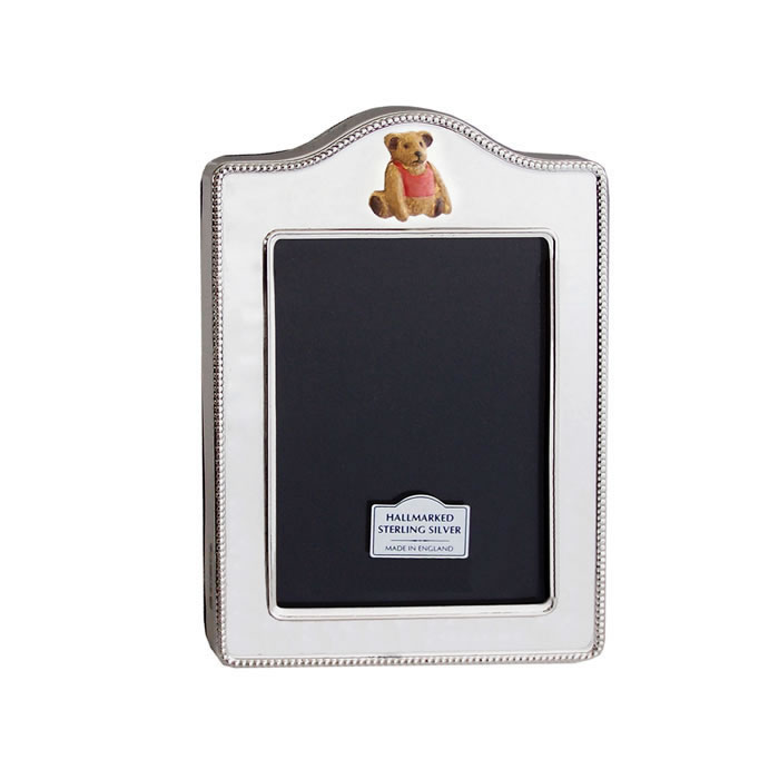 Sterling Silver Rope Design Hand Painted Teddy 5x4cm Photo Frame