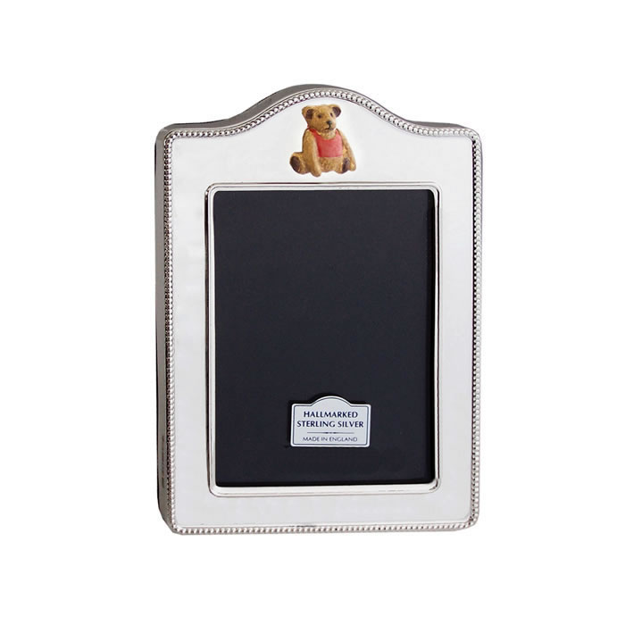 Sterling Silver Rope Design Hand Painted Teddy 9X6cm Photo Frame