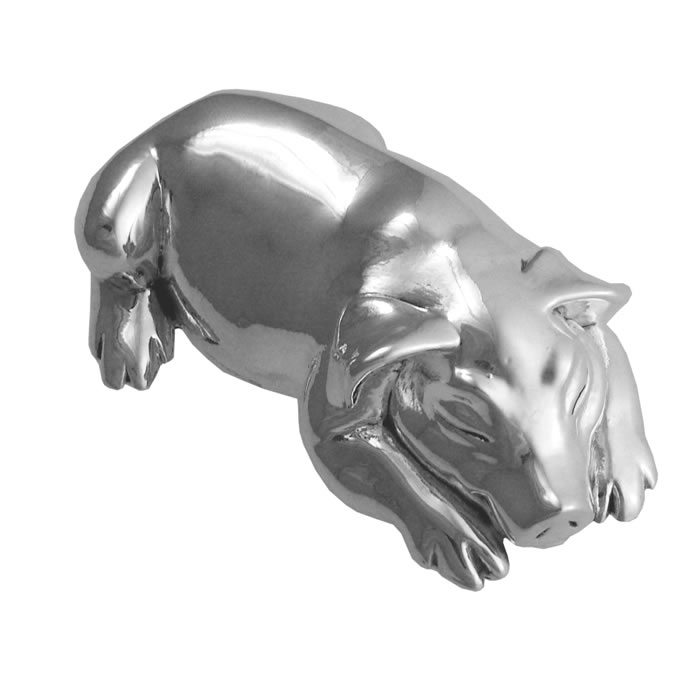Sterling Silver Large Pig Paperweight Or Decorative Gift