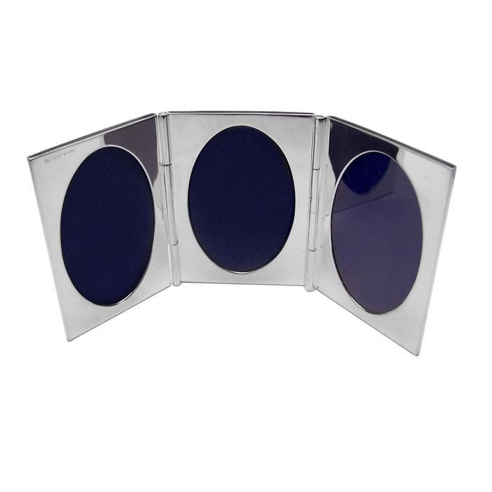 Sterling Silver Triple Oval Miniature Folding Travel Photo Frame