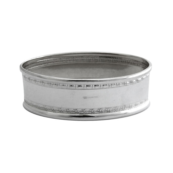 Sterling Silver Rectangular Patterned Border Napkin Ring