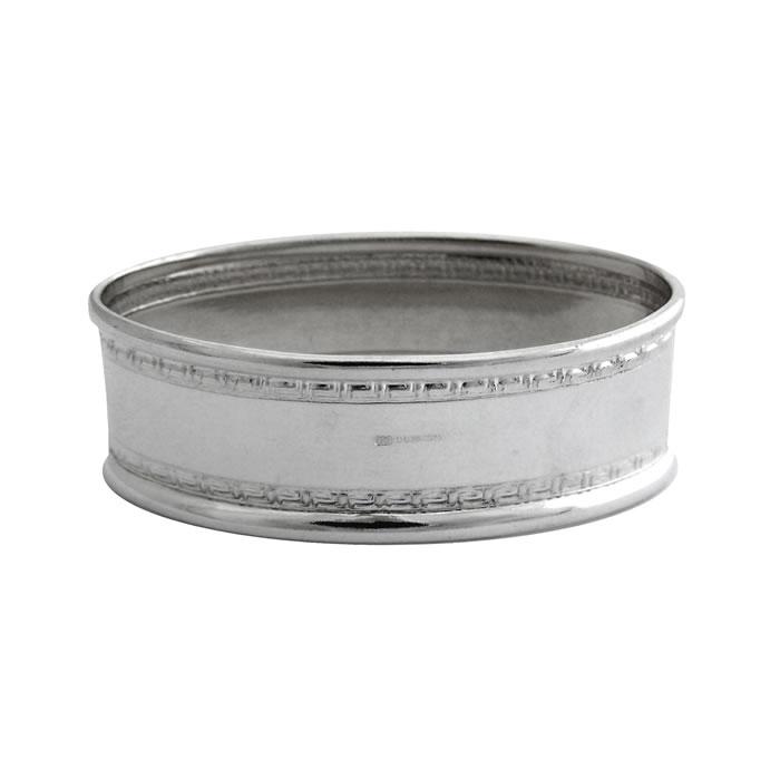 Sterling Silver Rectangular Patterned Border Napkin Ring