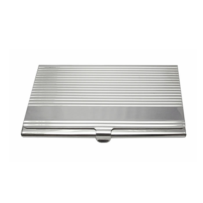 Sterling Silver Striped Style Card Case