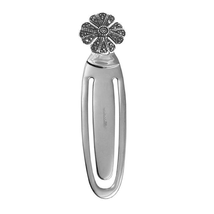 Sterling Silver Marcasite Flower Bookmark