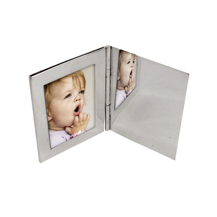 Sterling Silver Single Rectangle Miniature Folding Travel Photo Frame
