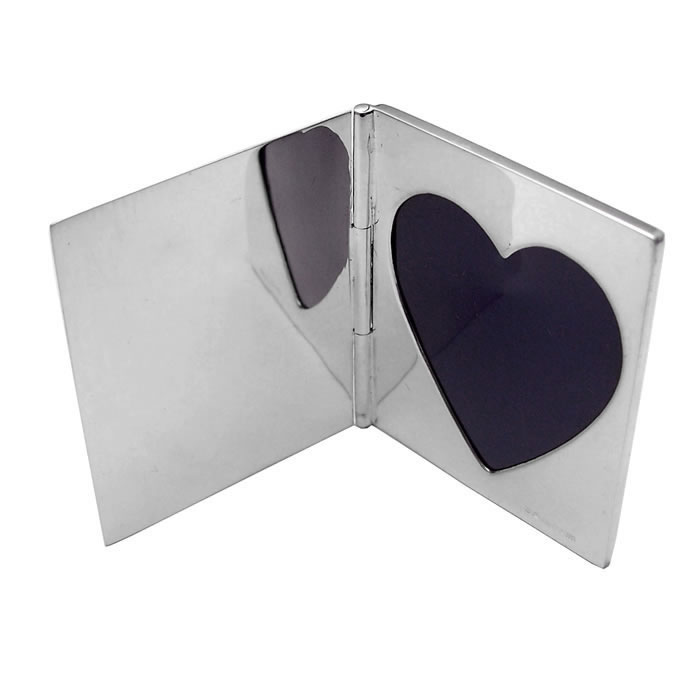Sterling Silver Single Heart Miniature Folding Travel Photo Frame