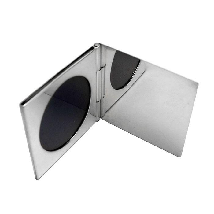 Sterling Silver Single Round Miniature Folding Travel Photo Frame