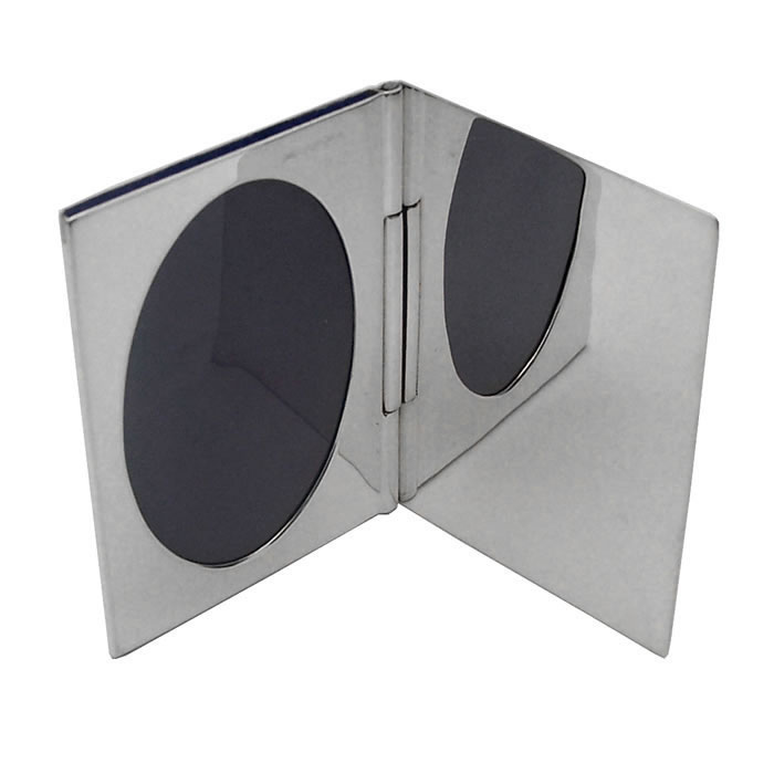 Sterling Silver Single Oval Miniature Folding Travel Photo Frame