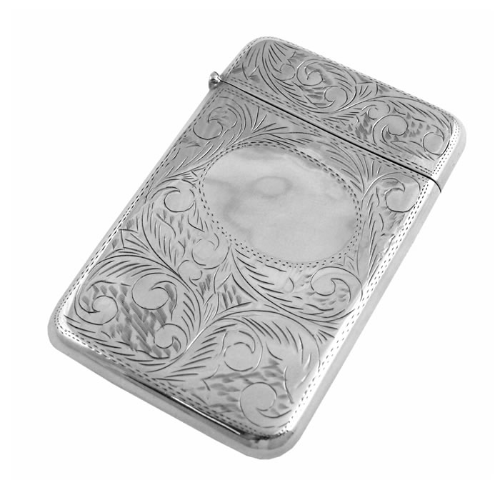 Sterling Silver Victorian Style Patterned Card Case