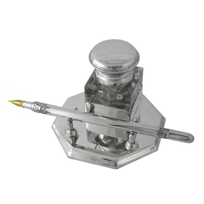 Sterling Silver Plain Style Inkwell