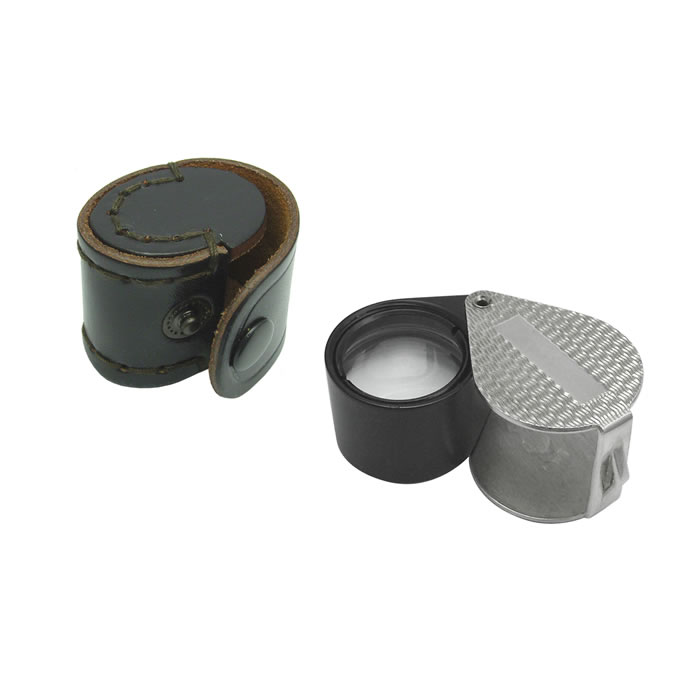 Sterling Silver Herringbone Finish With Leather Case Magnifying Glass