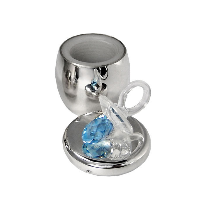 Sterling Silver And Blue Swarovski Crystal Ring Keepsake Box