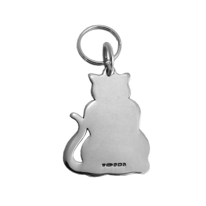 Sterling Silver Cat Keyring