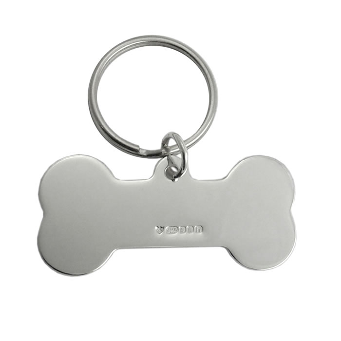 Sterling Silver Large Dog Bone Keyring