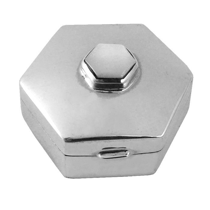 Sterling Silver Mop Hexagon Pill Box