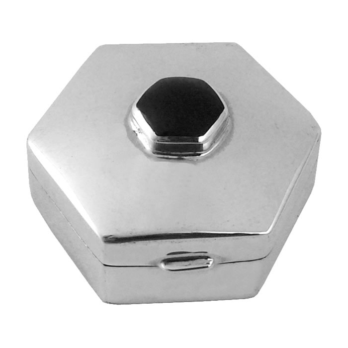 Sterling Silver Onyx Hexagon Pill Box