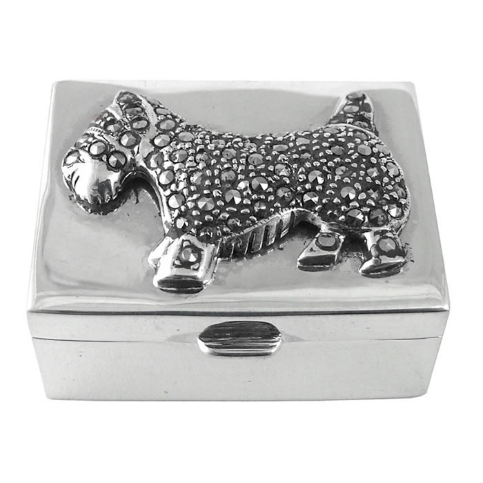 Sterling Silver Marcasite Scottie Dog Pill Box